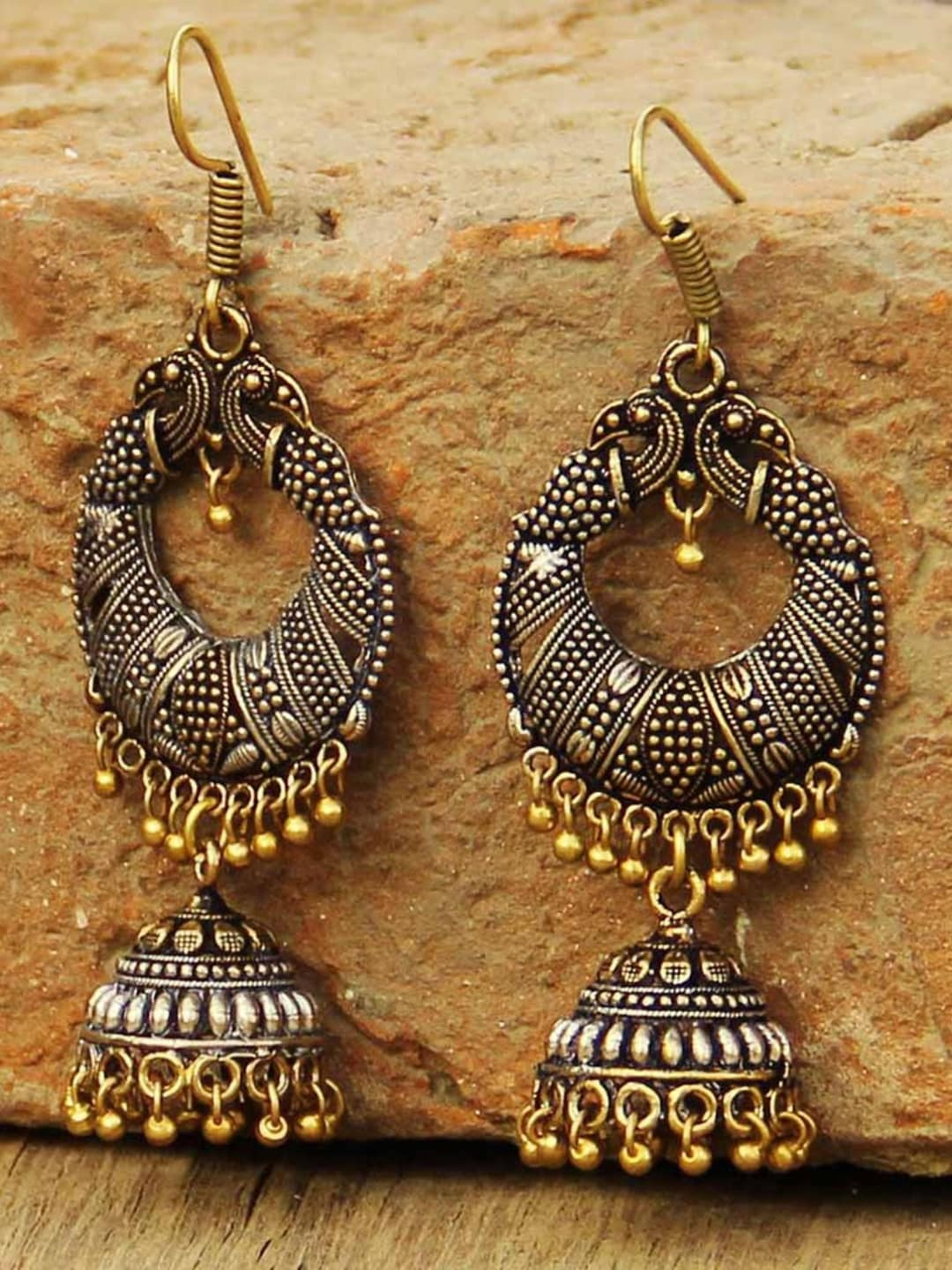 Prita Antique Gold Toned Oxidised Silver Plated Dome Shaped Jhumkas