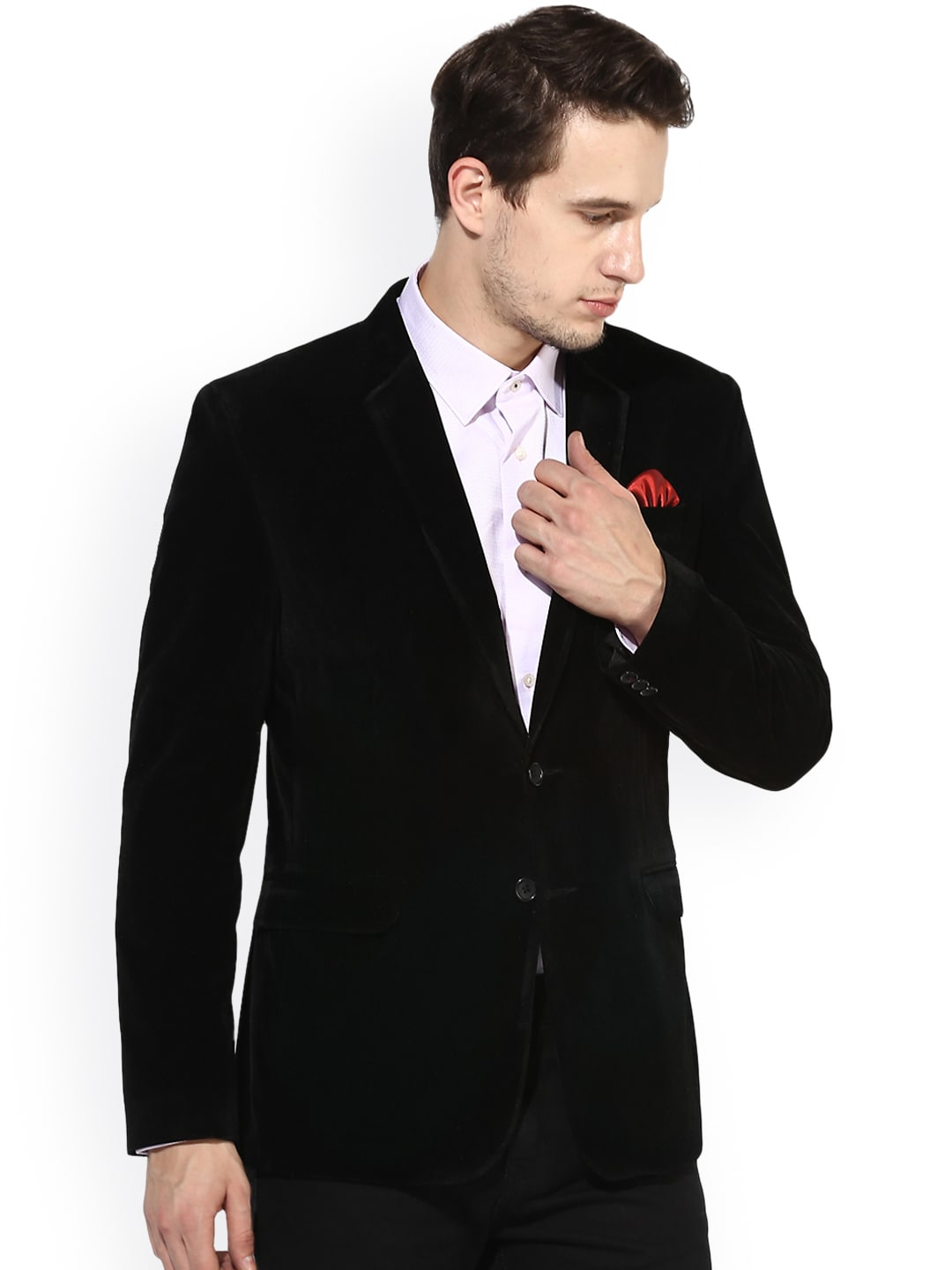 Hangup Black Regular Fit Single Breasted Party Blazer