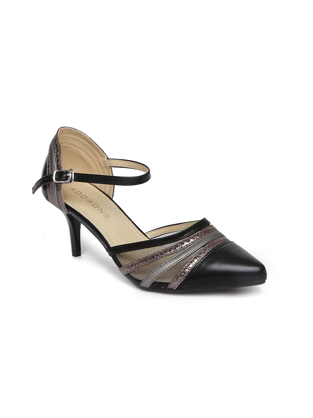 1749a6e7ceb6 Addons Women Black Solid Pumps
