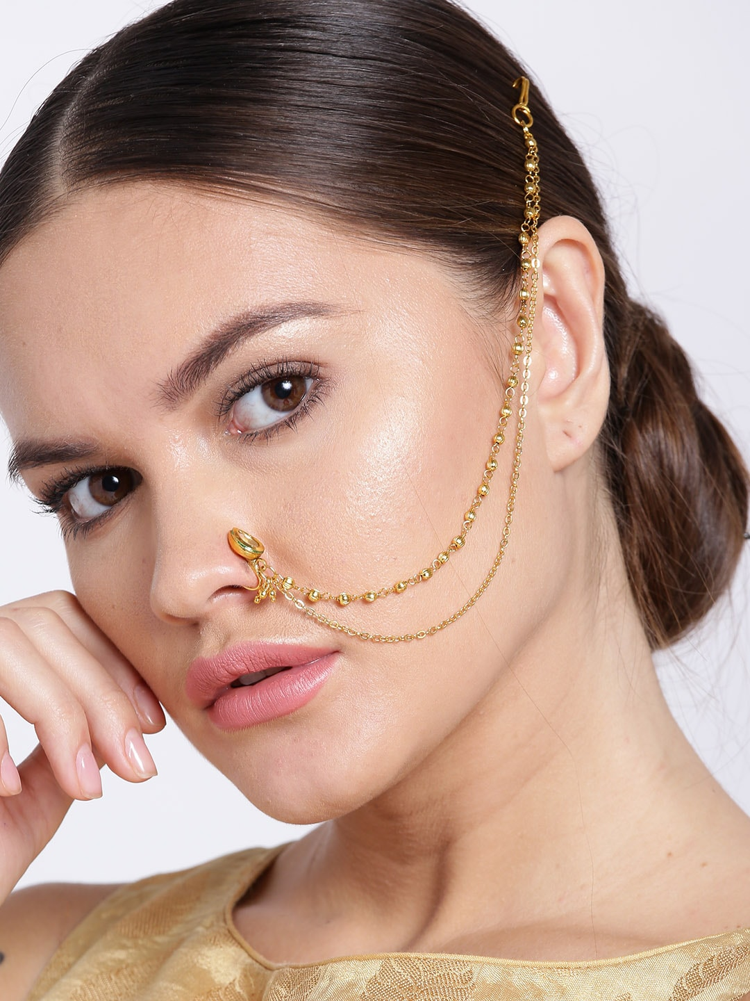 Priyaasi Gold Plated Cz Stone Studded Handcrafted Nose Ring With Chain