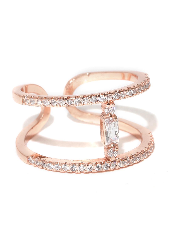 7fec52ebe0ea9 Jewels Galaxy 18K Rose Gold-Plated Austrian Diamond Studded Ring