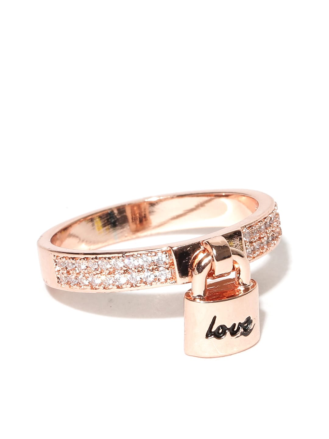 9ea3944edb7a8 Jewels Galaxy 18K Rose Gold-Plated Stone-Studded Ring