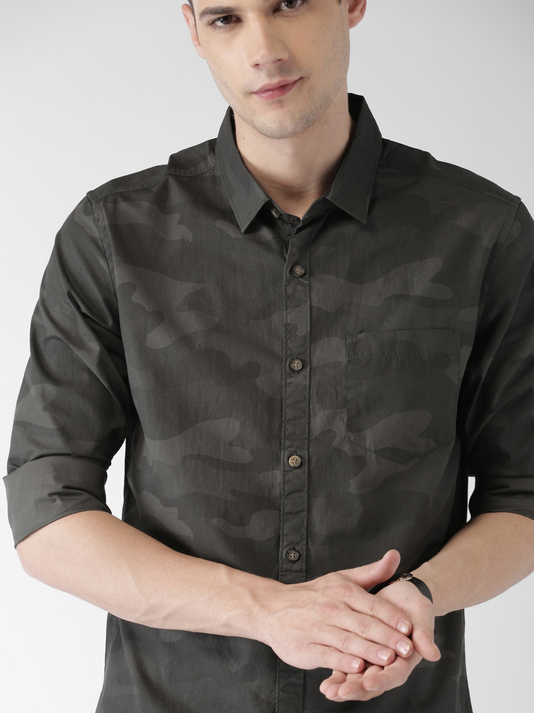 wholesale sales good selling most desirable fashion HIGHLANDER Men Olive Green Slim Fit Camouflage Printed Casual Shirt