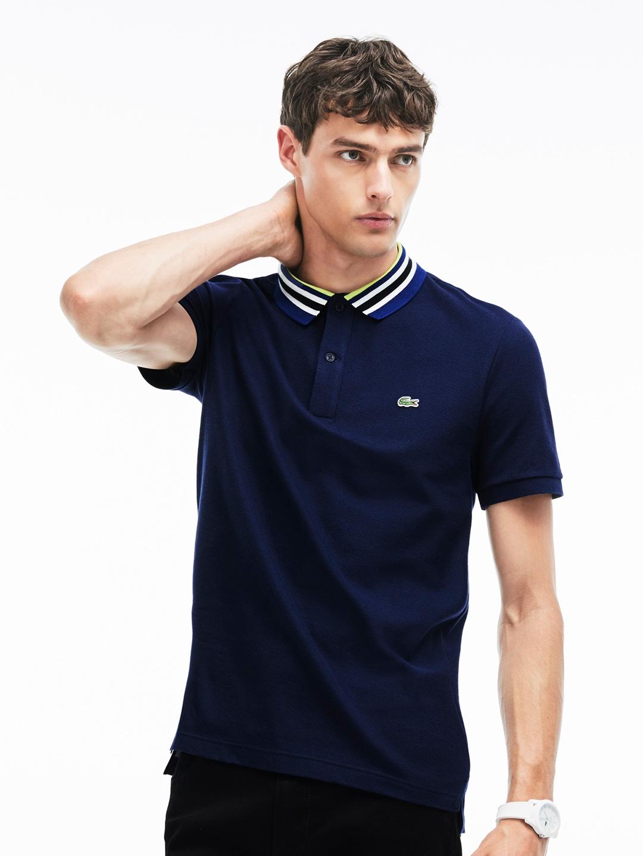 61109f11de Lacoste Men Navy Blue Slim Fit Cotton Pique Polo With Piped Collar