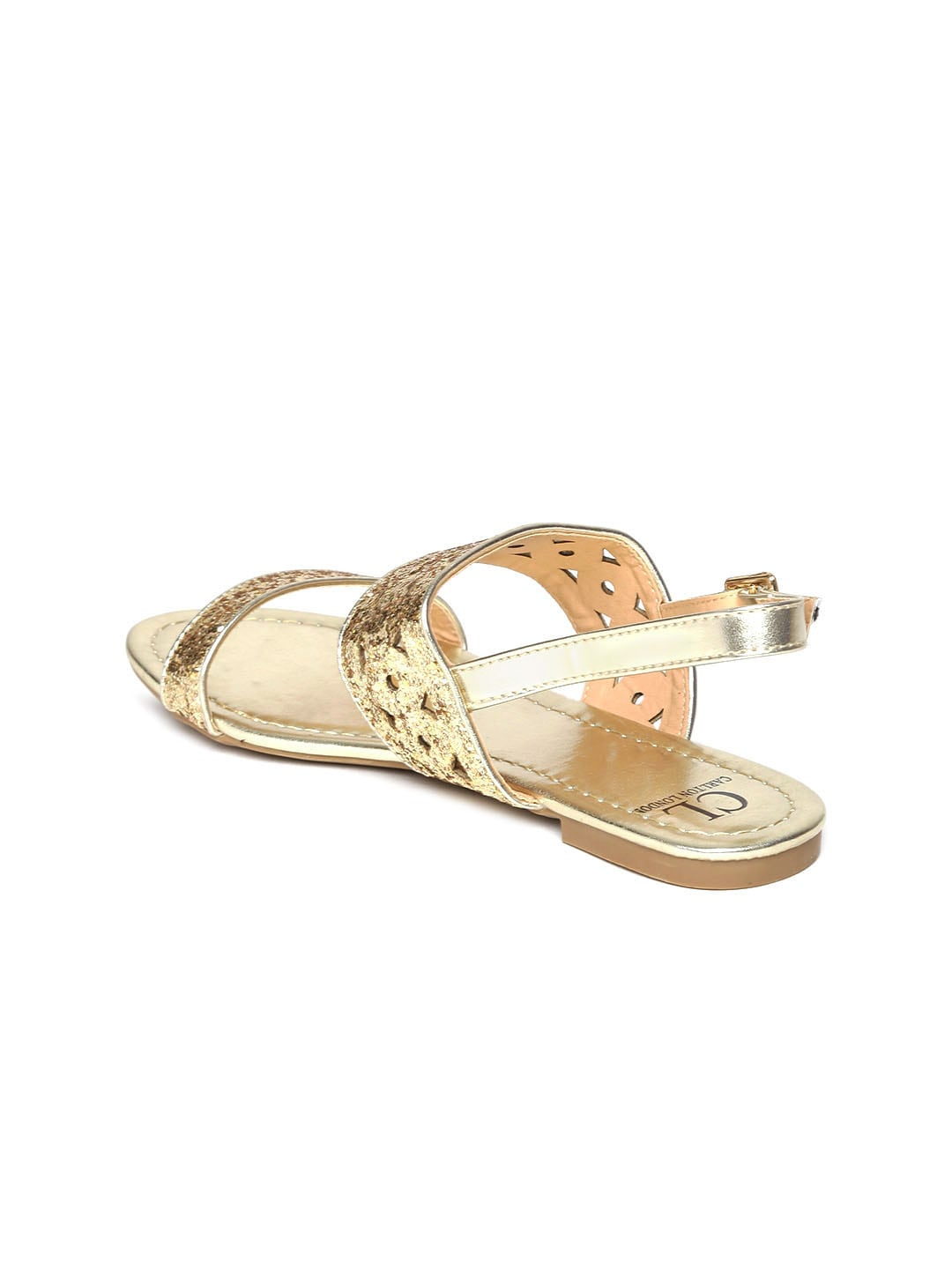 Carlton London Women Gold-Toned Shimmer Synthetic Open Toe Flats
