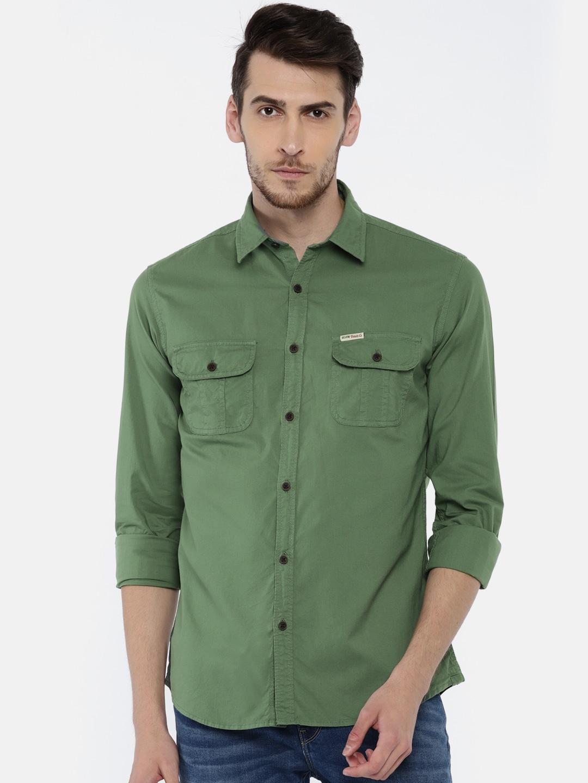 7cfd91a57ef Men Green Denim Jeans Shirts - Buy Men Green Denim Jeans Shirts online in  India