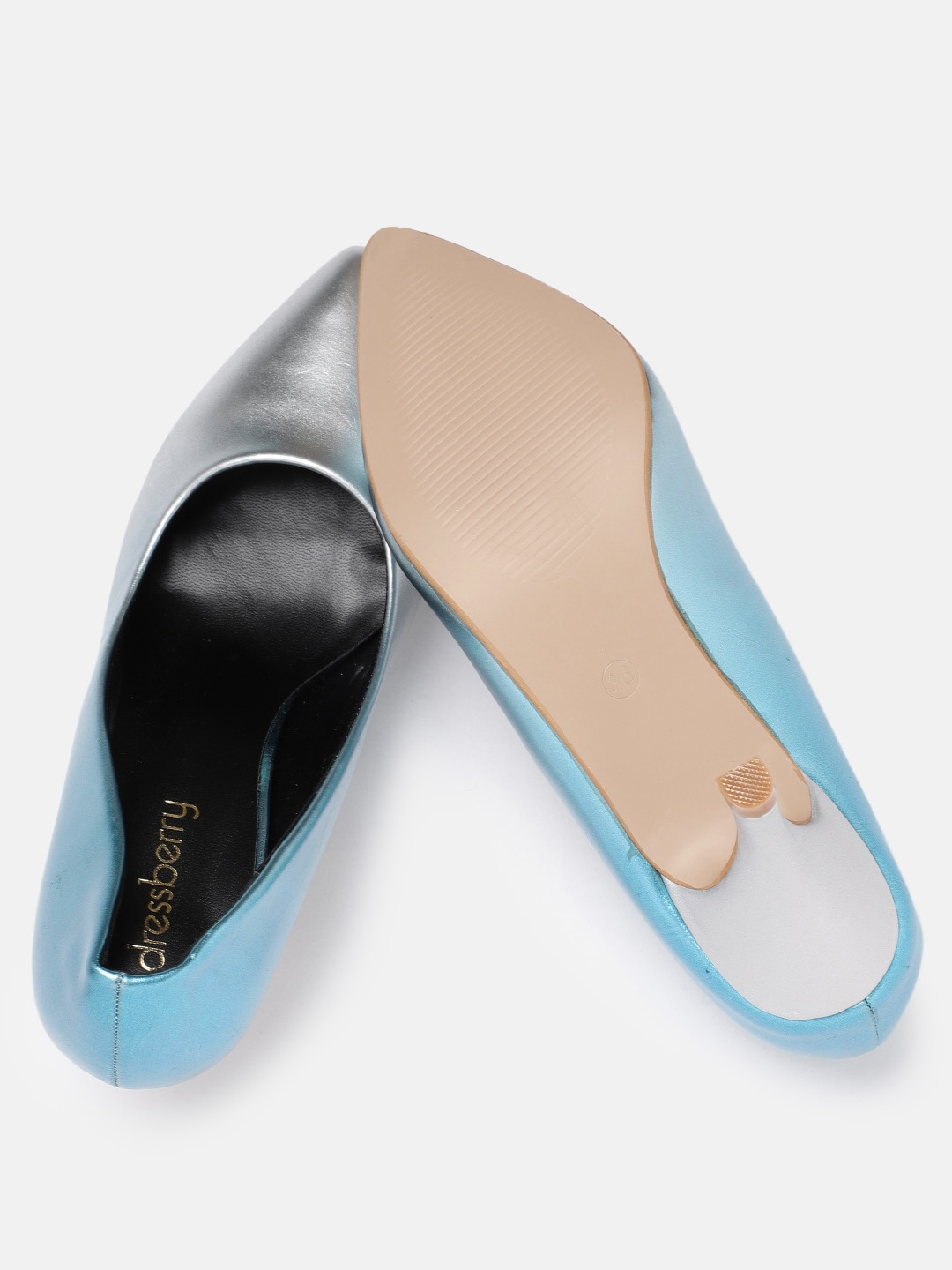 DressBerry Women Silver-Toned & Blue Solid Pumps