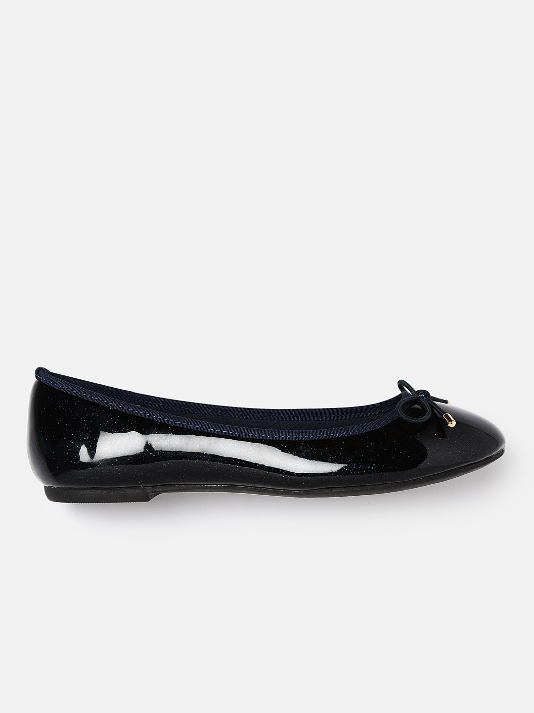 DressBerry Women Navy Blue Solid Synthetic Ballerinas