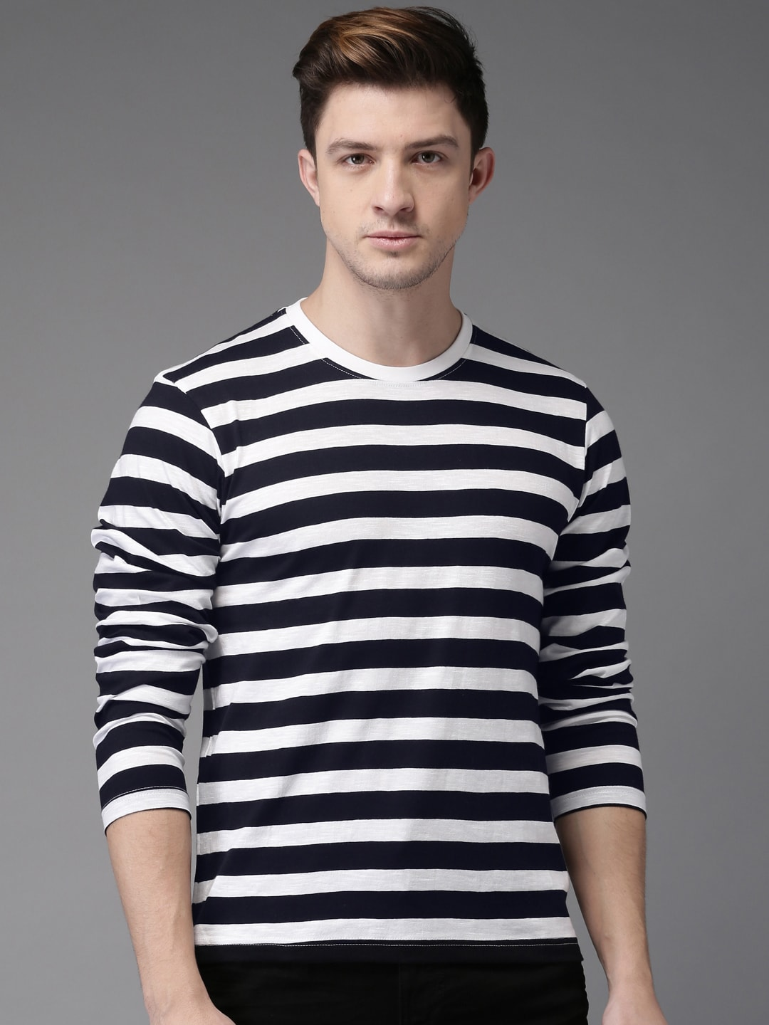c64086cee08 Buy HERE NOW Men Navy Blue   White Striped Round Neck T Shirt - Tshirts for  Men 2383691