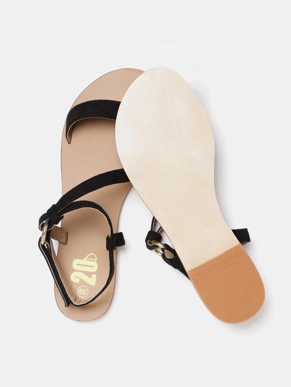 20Dresses Women Black Solid Open Toe Flats
