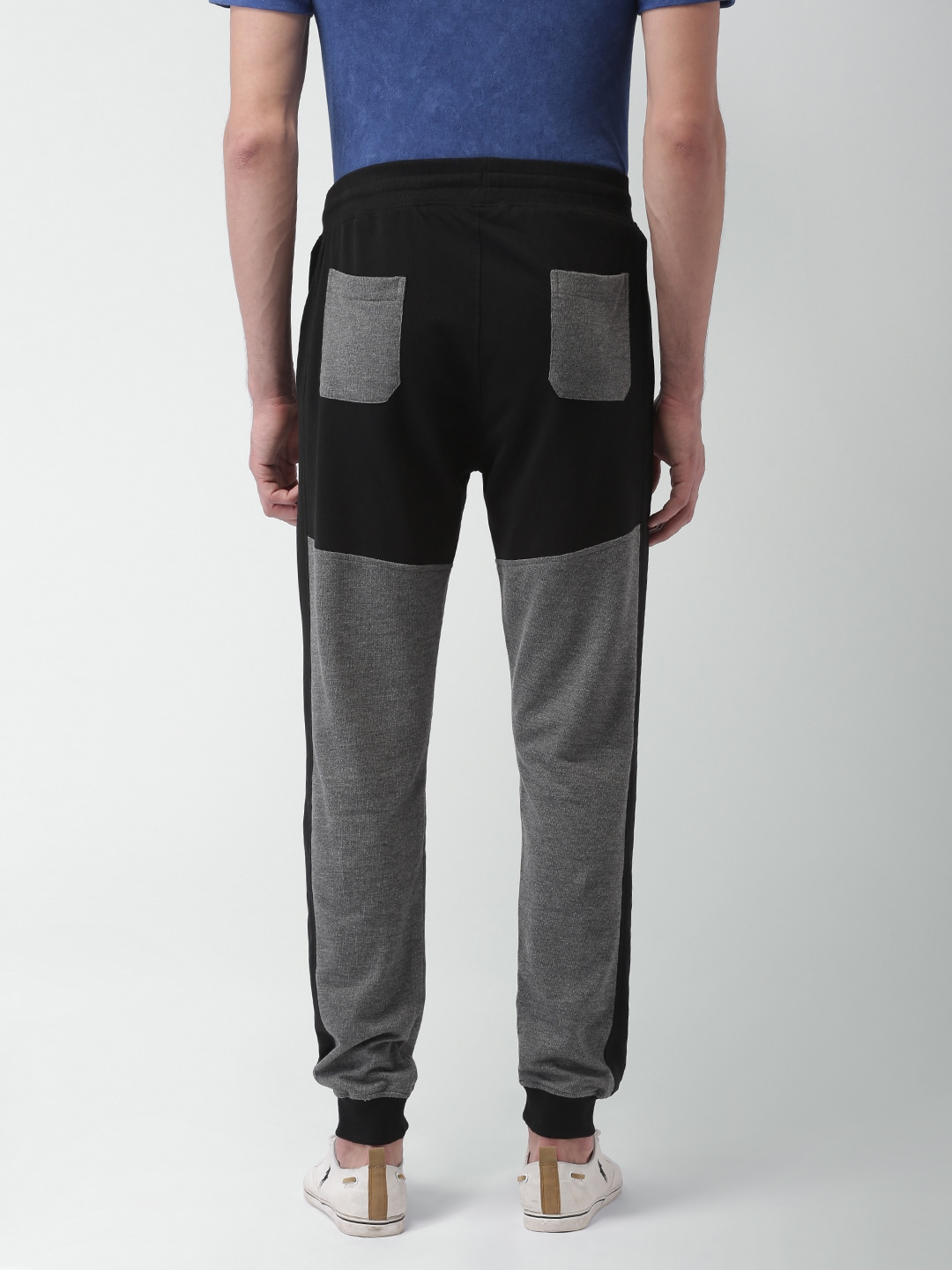 Blue Saint Men Grey& Black Colourblocked Straight Fit Joggers
