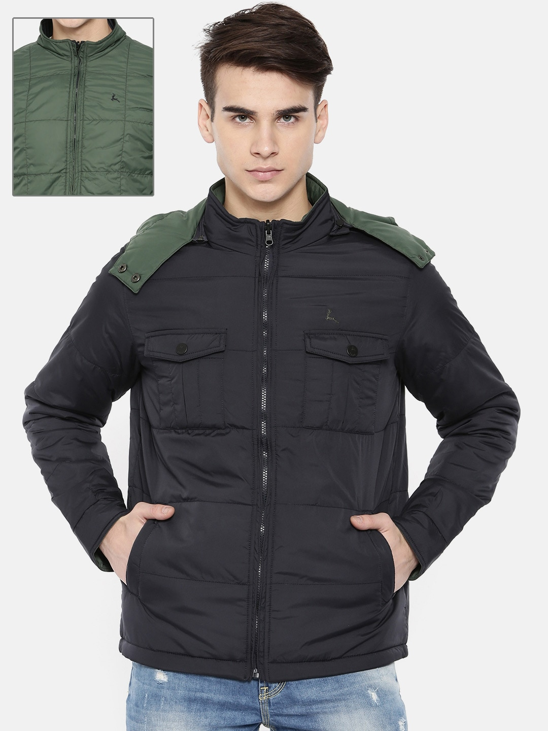 881a8c8aa Parx Men Navy Blue Solid Reversible Padded Jacket