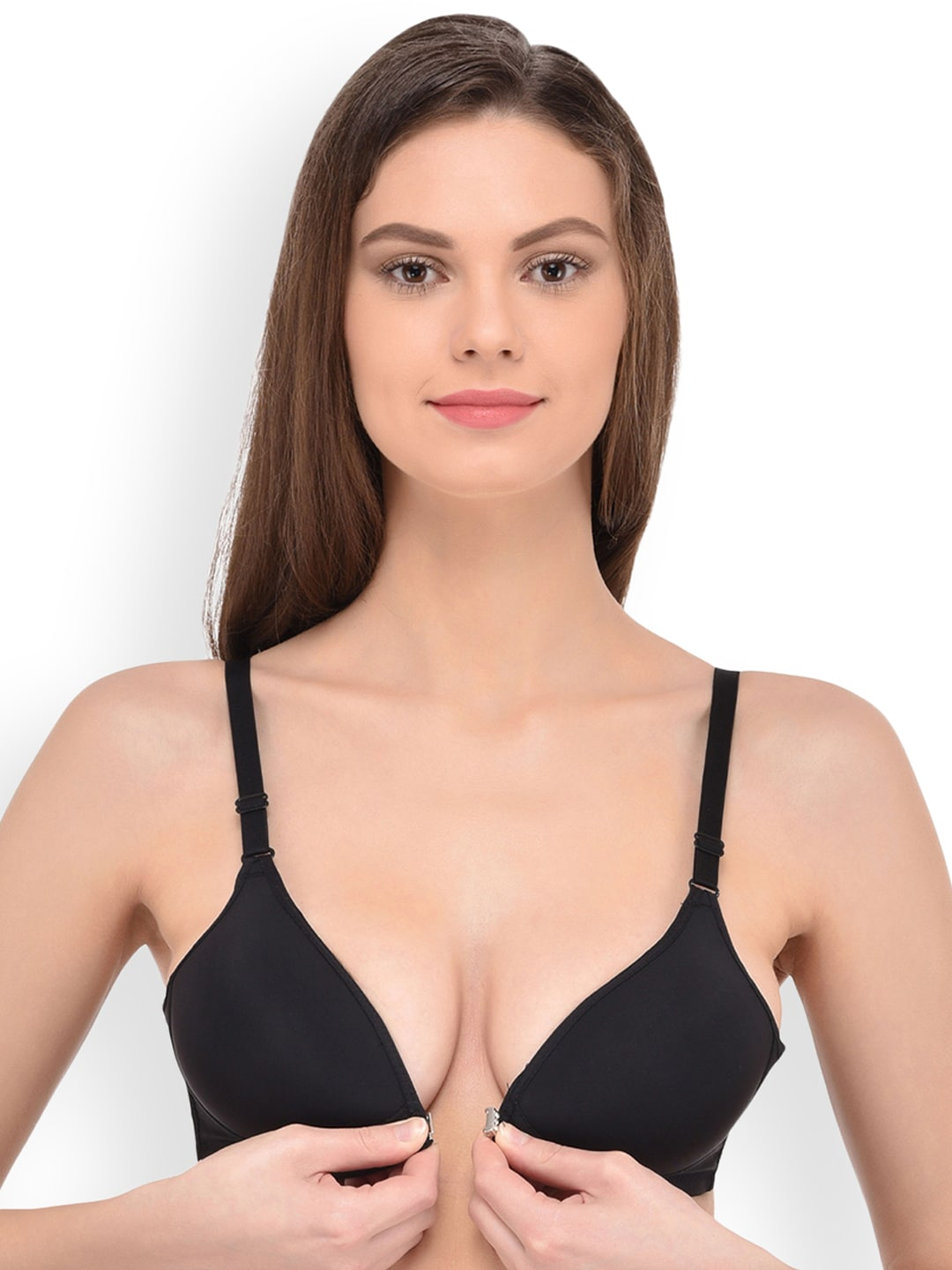 cf8856444a PrettyCat Black Solid Non-Wired Non Padded Everyday Bra