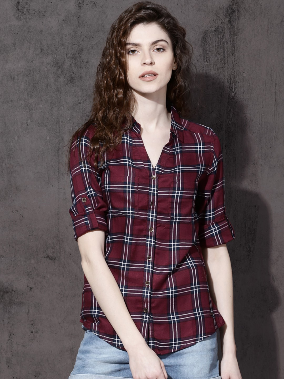 f71aaf9419 Check Shirts for Women - Buy Ladies Check Shirts Online - Myntra