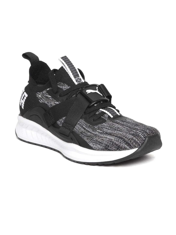brand new 4e7f3 8b538 Puma Men Grey & Black Ignite evoKNIT Lo 2 Running Shoes