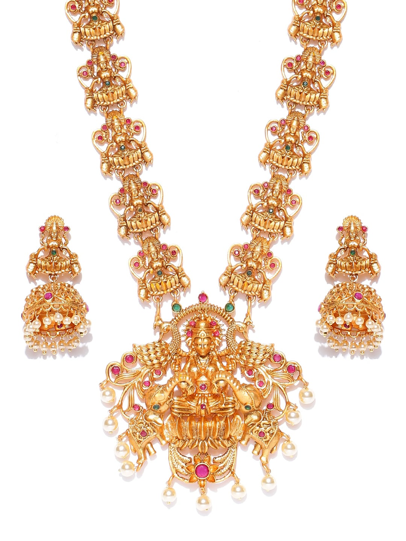 f22e37df28eeb Spargz Gold-Plated Goddess Laxmi Stone-Studded Textured Jewellery Set