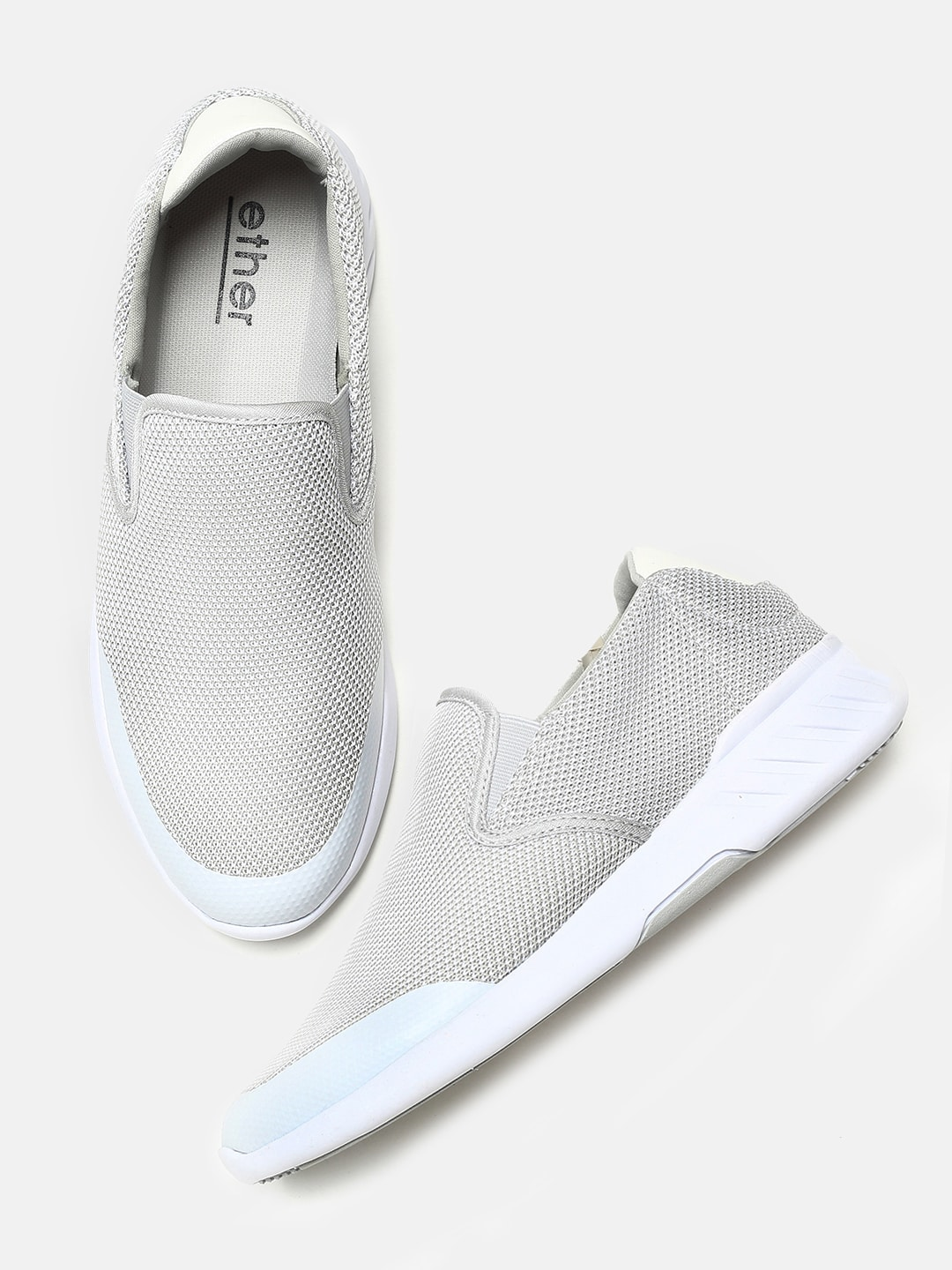 0aa8ae2febda8 ether Men Grey Slip-On Sneakers