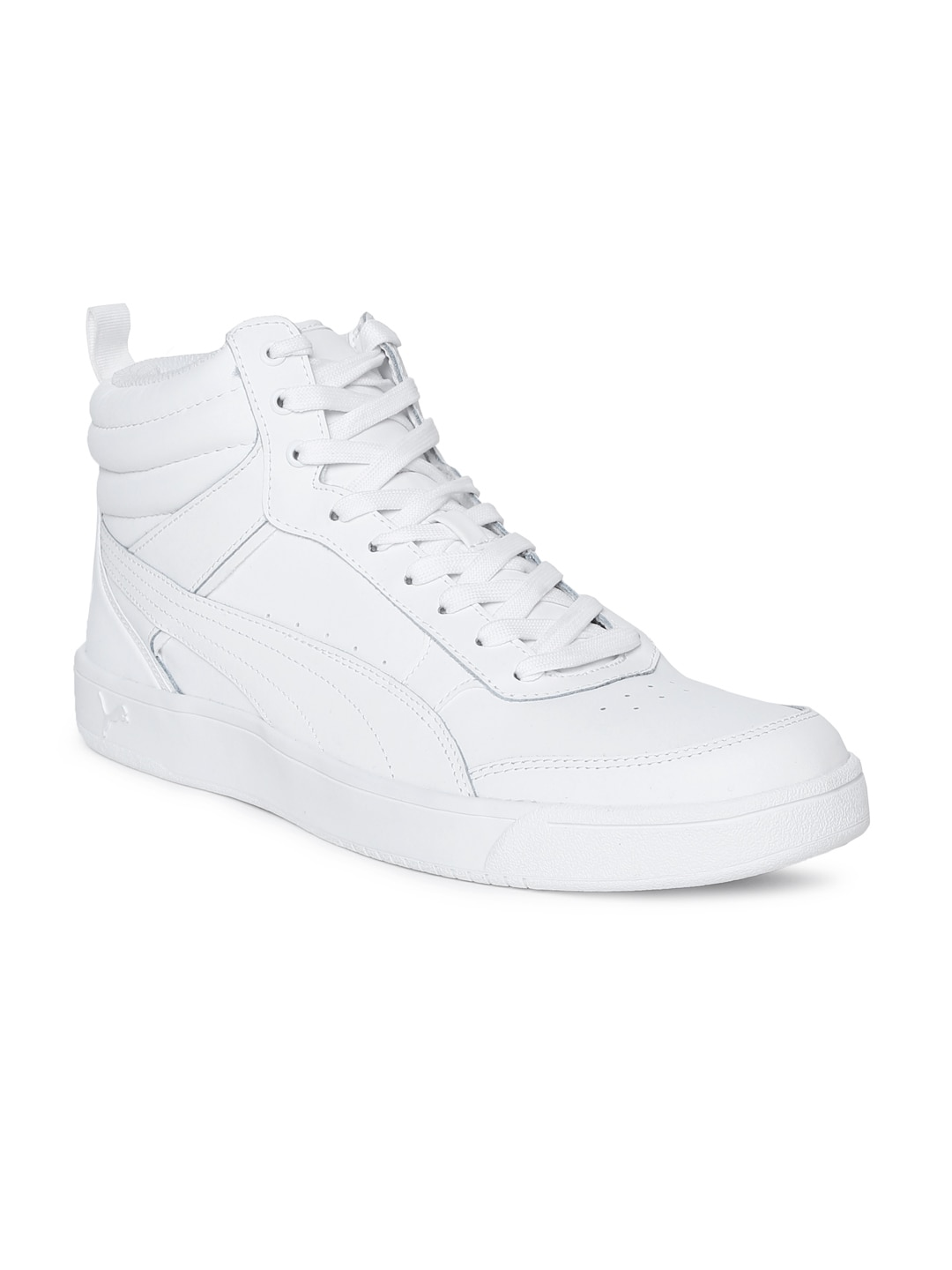 9f71bc27a3 Puma Men White Perforations Leather Mid-Top Sneakers