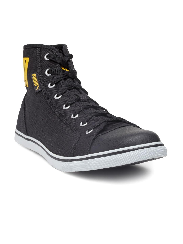 prix le plus bas b89df f35f3 Puma Men Black Streetballer IDP Solid Canvas Mid-Top Sneakers