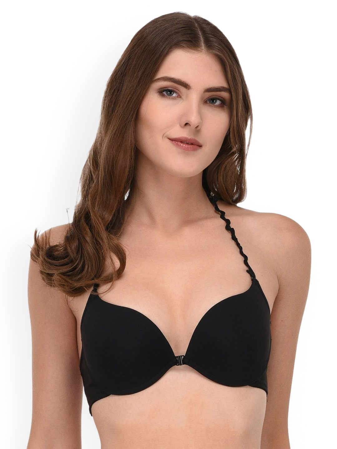 68b50643f1 PrettyCat Black Solid Underwired Heavily Padded Push-Up Bra