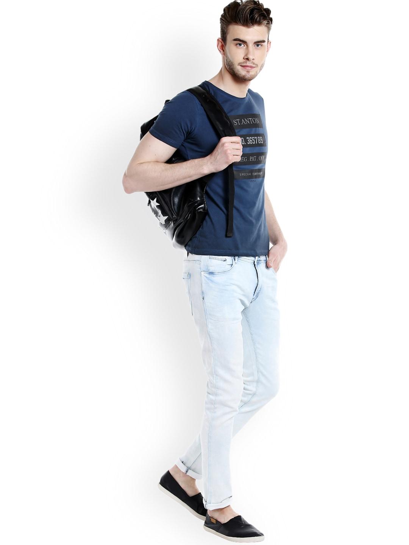 Rex Straut Jeans Men Blue Printed Round Neck T-shirt