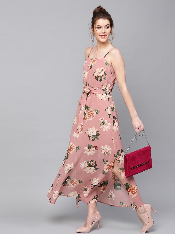 SASSAFRAS Women Dusty Pink Floral Print Belted Maxi Dress 0751a17f7