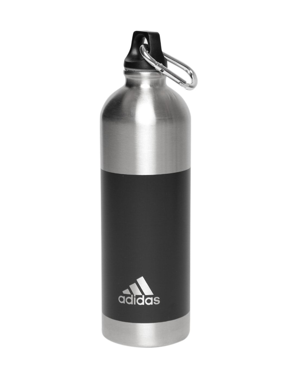 0426d47f ADIDAS Unisex Black & Silver-Toned Colourblocked Steel Water Bottle