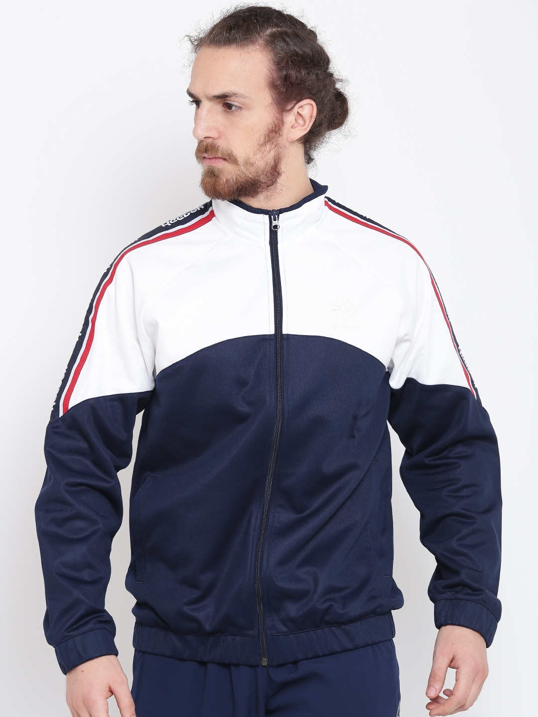 c76ef44e Reebok Classic Navy & White F Franchise Colourblocked Track Jacket