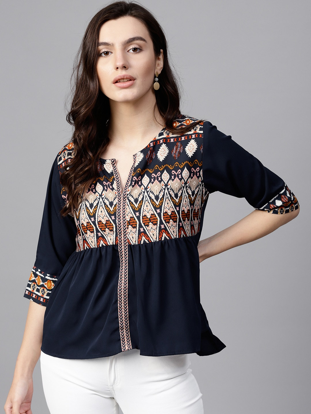 596d14e5708 3 4 Sleev Tops - Buy Three Fourth Sleeves Top Online