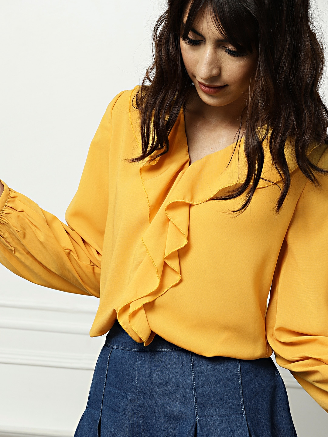 bd15cc1112a918 Mustard Yellow Tops - Buy Mustard Yellow Tops online in India