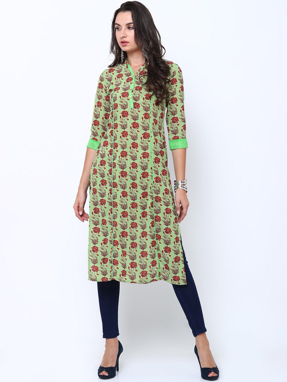 16c448c7371 Vishudh Green Kurtas - Buy Vishudh Green Kurtas online in India
