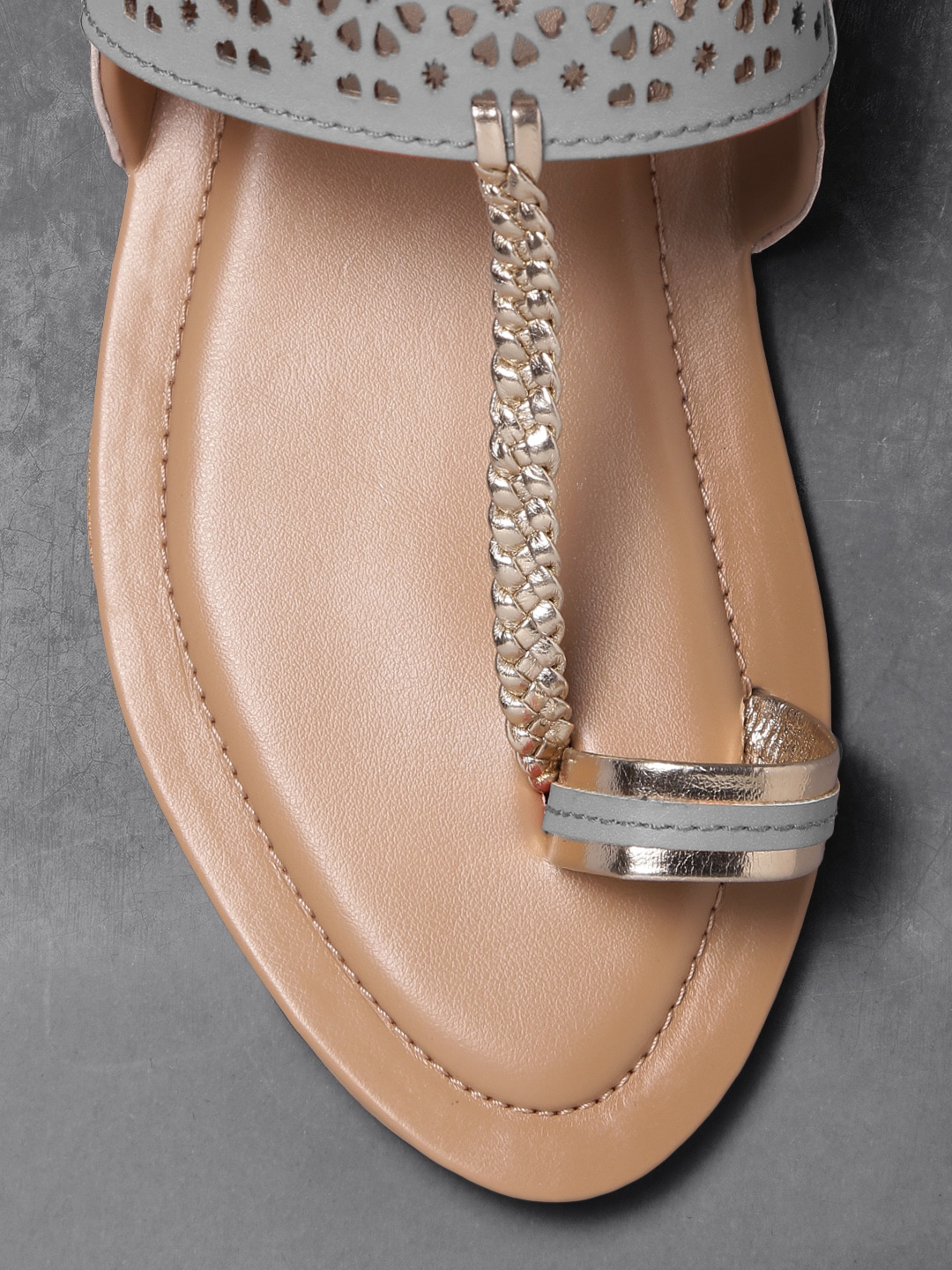 Anouk Women Grey One Toe Flats with Laser Cuts