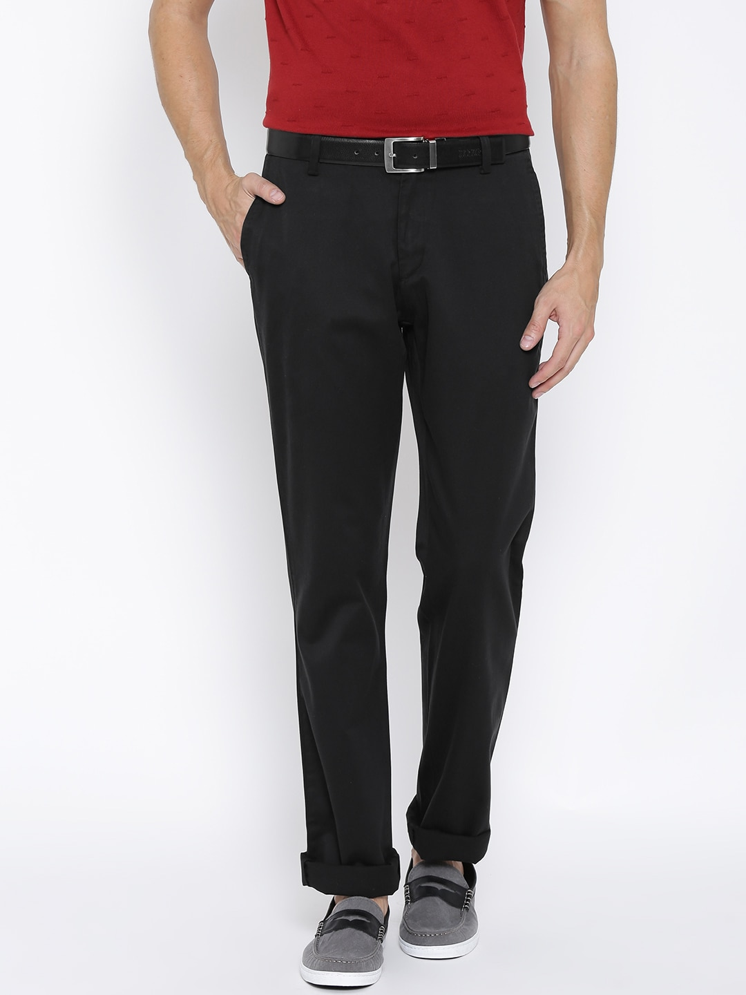 U S  Polo Assn  Men Black Tailored Fit Trousers