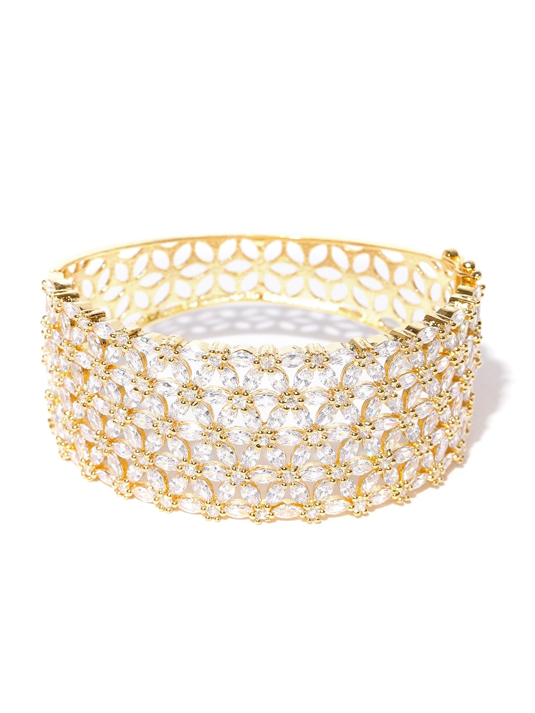 Jewels Galaxy Gold Plated Handcrafted Stone Studded Bangle Style Bracelet