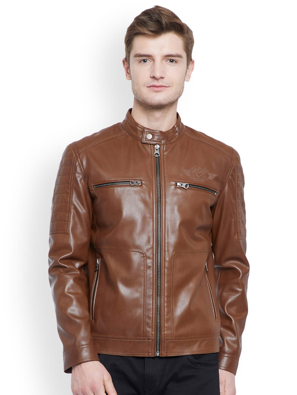 cb626da10 Justanned Men Tan Brown Solid Biker Jacket