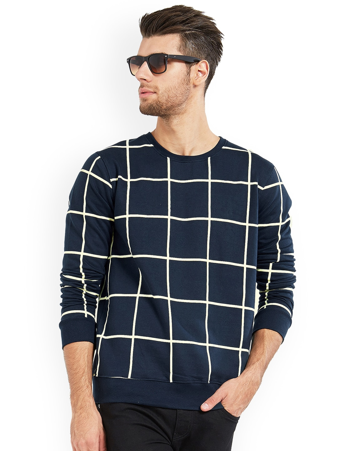 d1ea5b79765 Maniac Men Navy Blue Checked Round Neck T-shirt