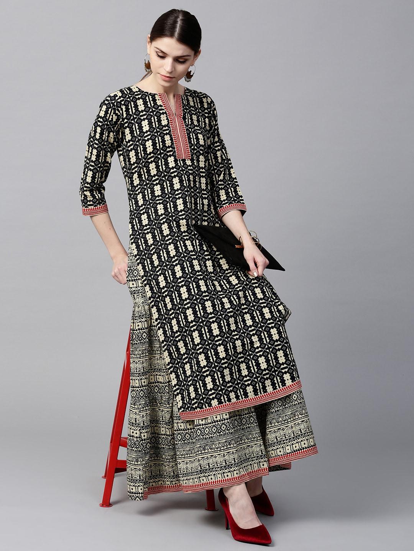 usa cheap sale famous designer brand new high GERUA Women Cream-Coloured & Black Printed Kurta with Skirt
