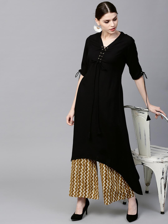 attractive price popular stores watch GERUA Women Black & Olive Green Solid Kurta with Palazzos