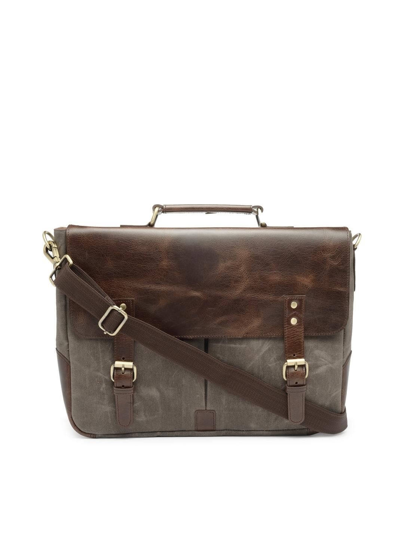 85aa59aa7ce9 The House of Tara Unisex Grey & Coffee Brown Solid Laptop Bag