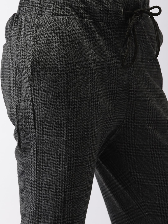 Harvard Men Grey Regular Fit Checked Joggers