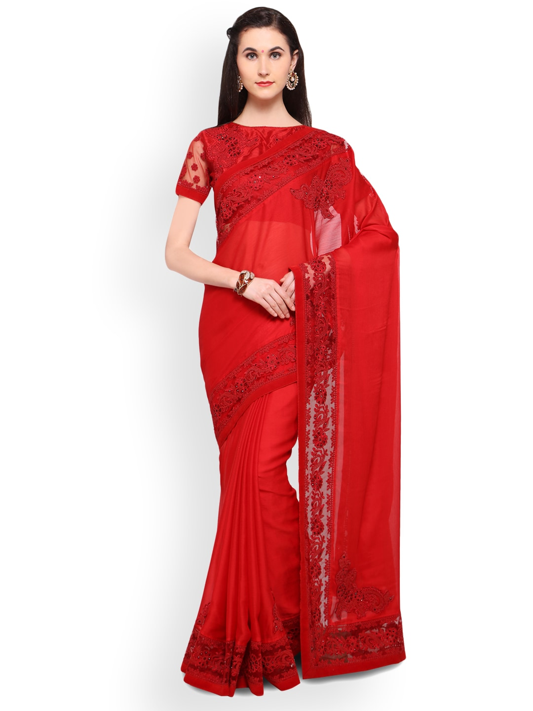 48c4fe014c29a Net Sarees - Buy Stylish Net Saree in India Online - Myntra