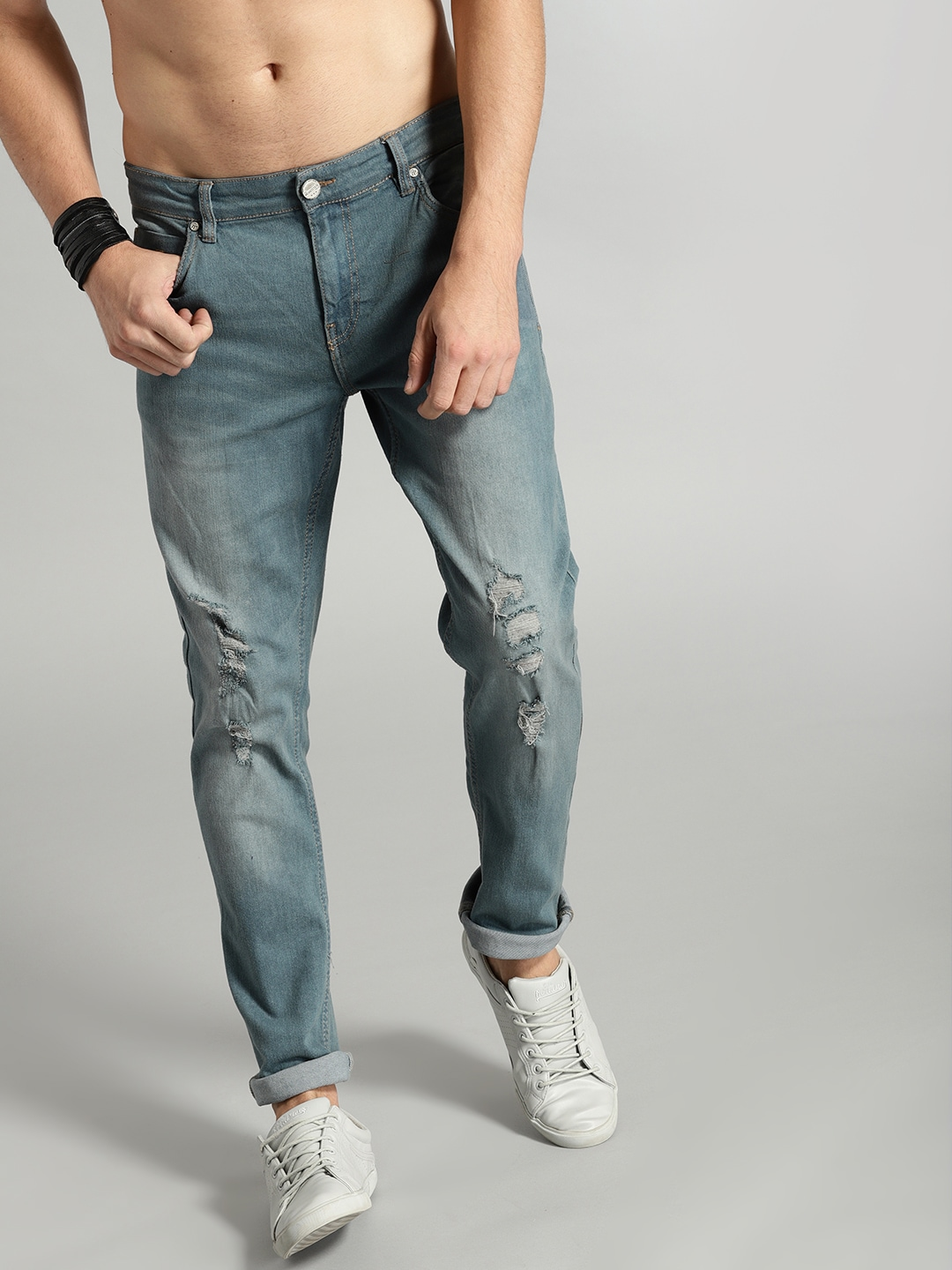 Roadster Fast and Furious Men Blue Slim Fit Mid,Rise Mildly Distressed  Stretchable Jeans