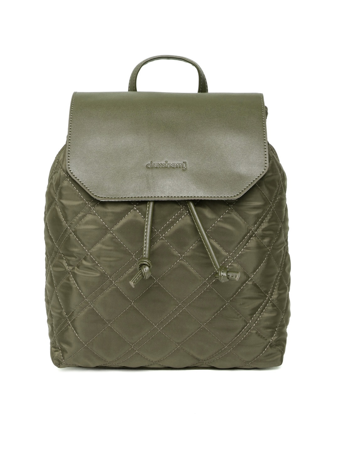 7e3eb2f3a51 DressBerry Women Olive Green Quilted Backpack