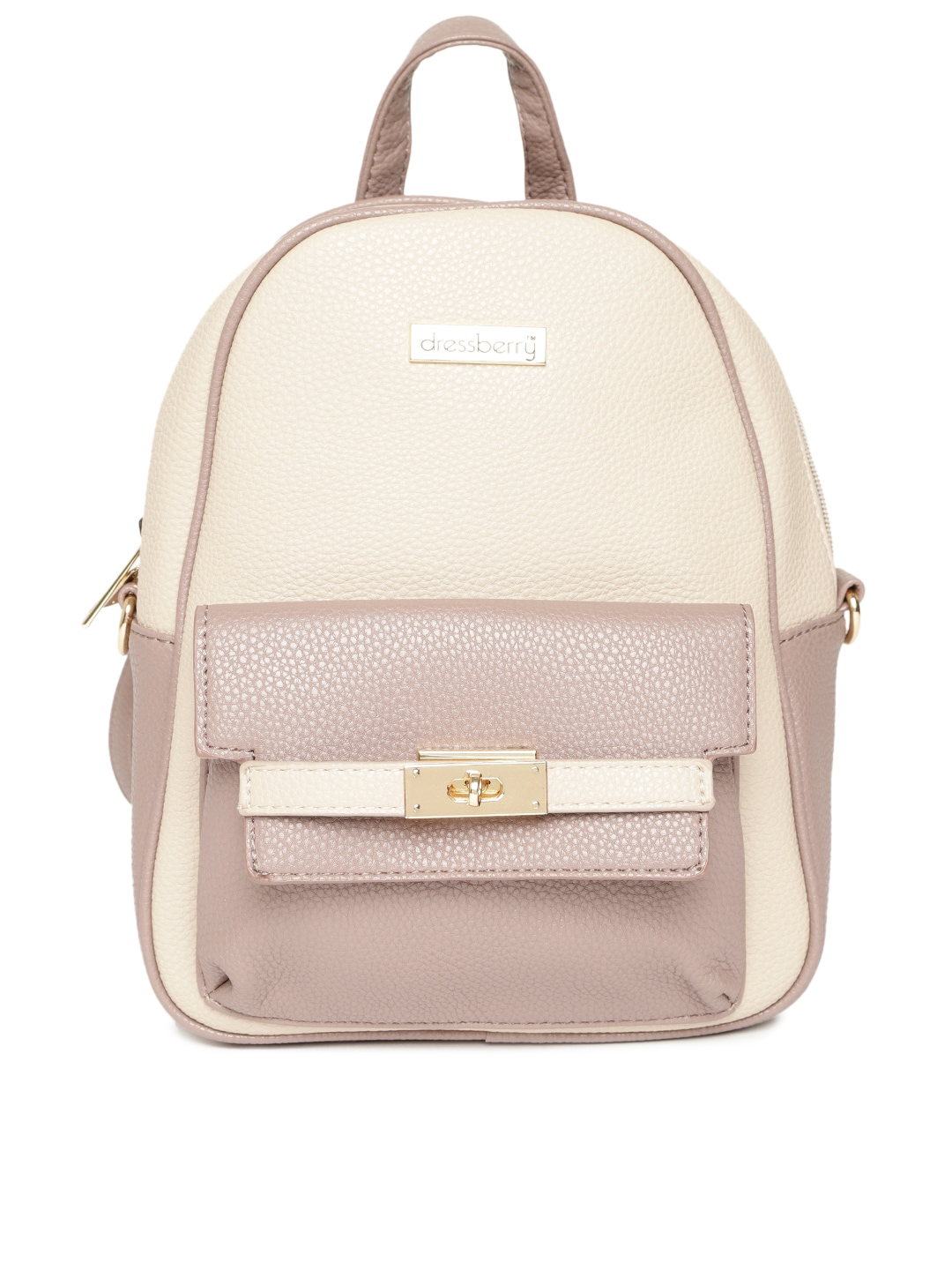 a28b711daa2 DressBerry Women Beige & Taupe Colourblocked Backpack