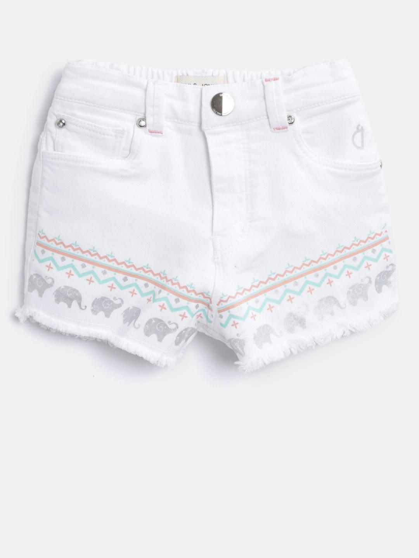 Gini and Jony Girls White Printed Detail Regular Fit Hot Pants