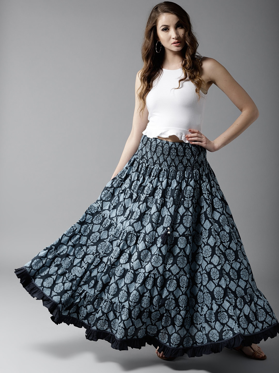 HERE&NOW Blooming Beauty Tiered Maxi Pure Cotton Skirt