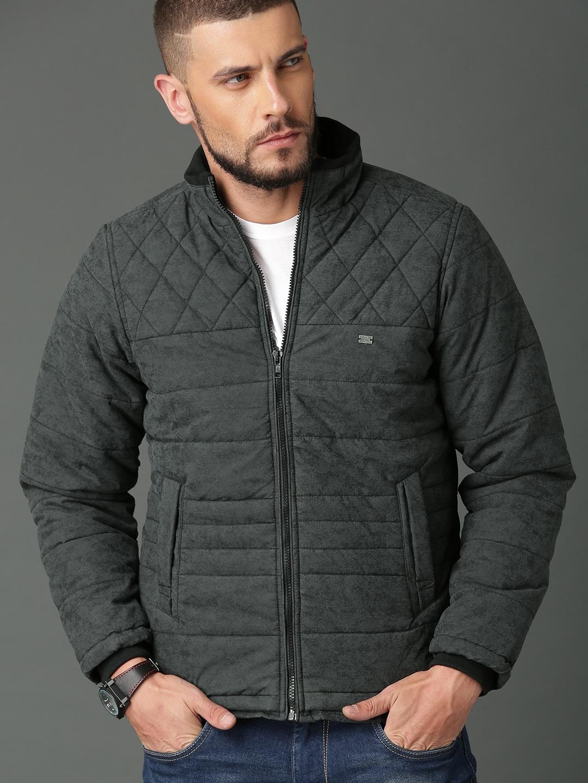 a351fbb21 Roadster Men Charcoal Grey & Black Solid Padded Jacket