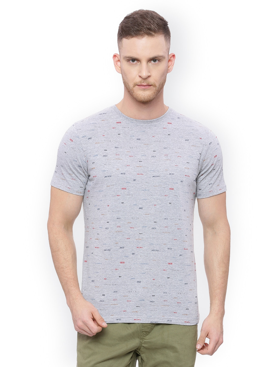53d846ef17b Basics Men Grey Printed Muscle Fit Round Neck T Shirt