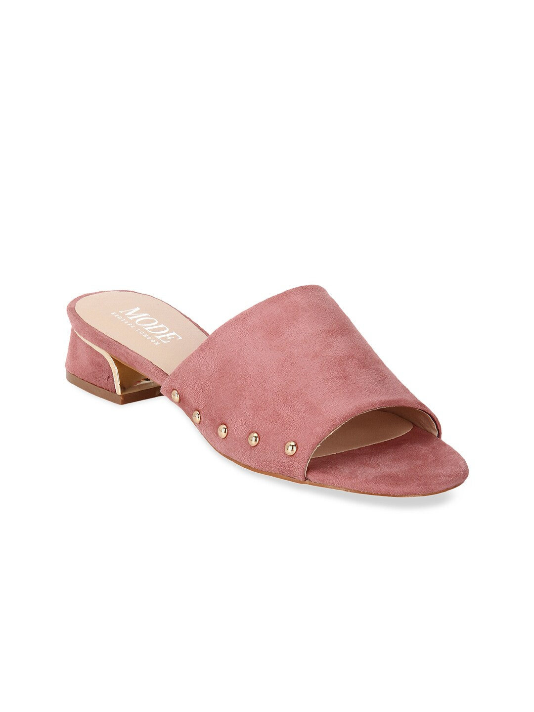 9cf4d1f6d99 Mode by Red Tape Women Pink Solid Heeled Mules