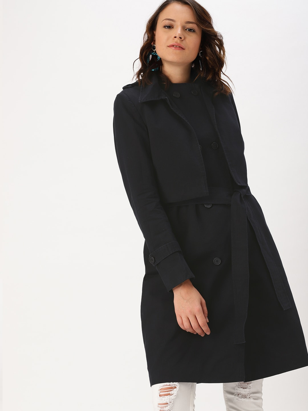 1539a9c90 DressBerry Navy Blue Trench Coat
